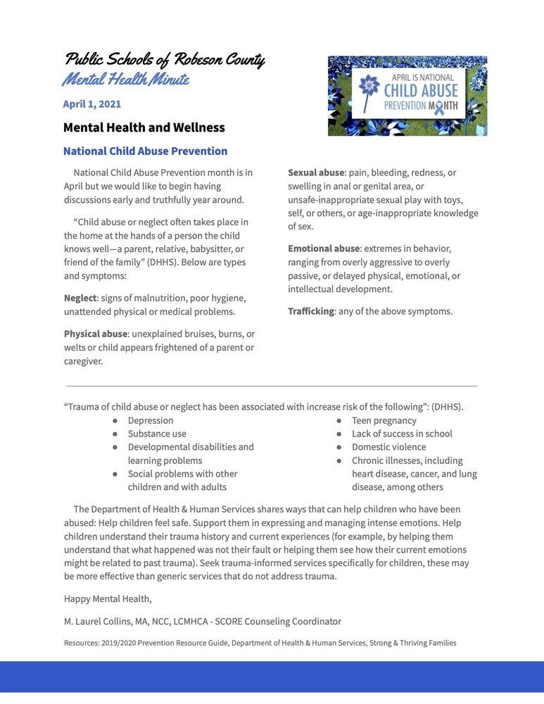PSRC April Mental Health Minute Newsletter