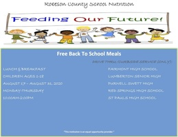 The Public Schools of Robeson County Child Nutrition Drive-Thru/Curbside Site Information