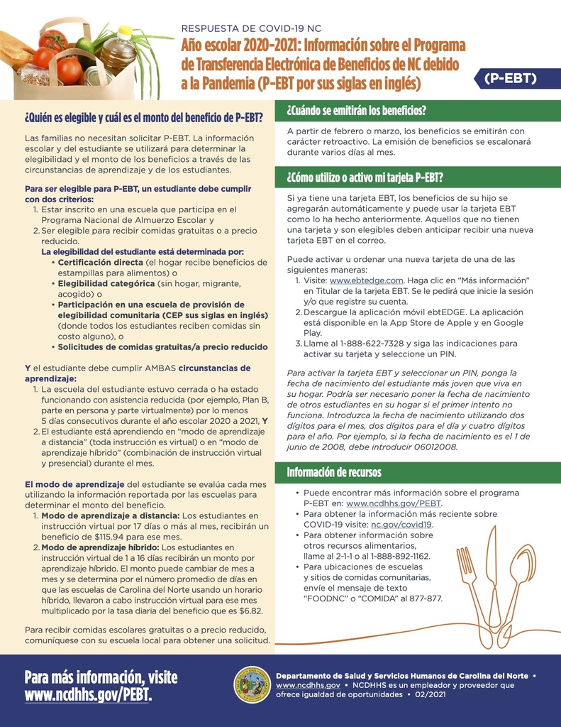 P-EBT Information Flyer (Spanish)