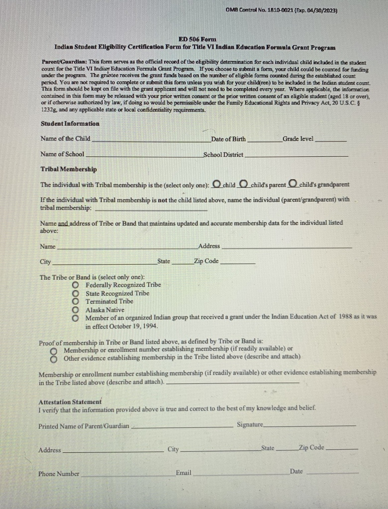 Indian Education 506 Form
