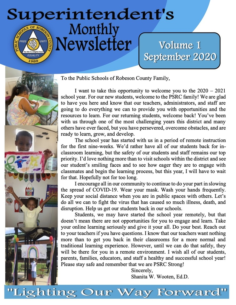 Superintendent's Monthly Newsletter